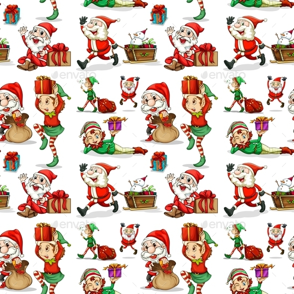 Christmas Background - People Characters