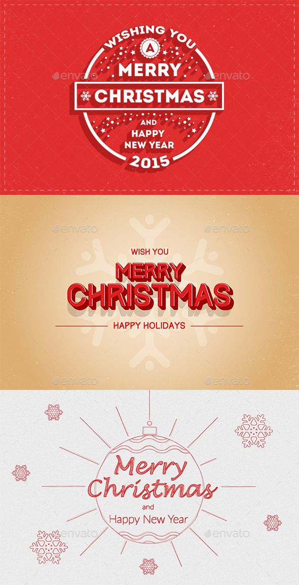 New Year and Merry Christmas Greeting Cards - Flyers Print