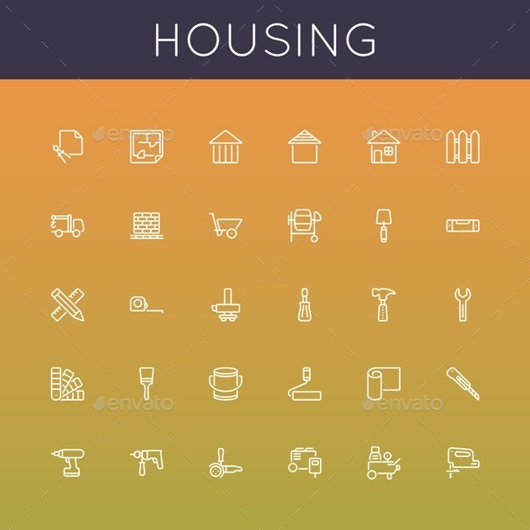 Vector Housing Line Icons - Industries Business