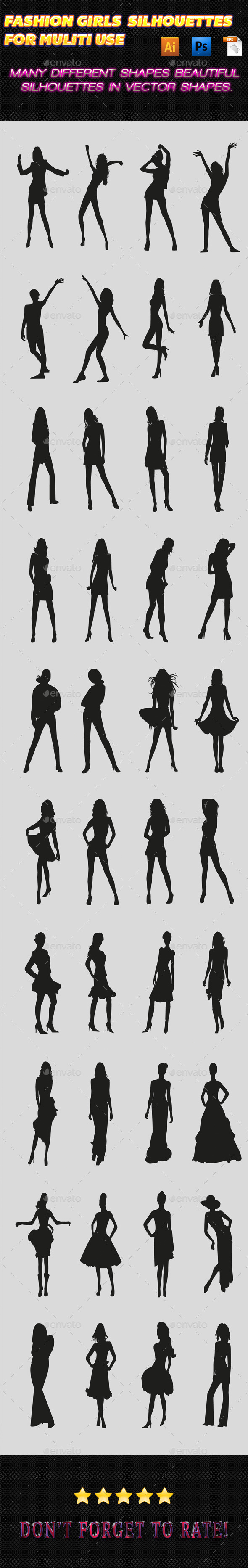 Fashion Girls Silhouettes 02 - People Characters
