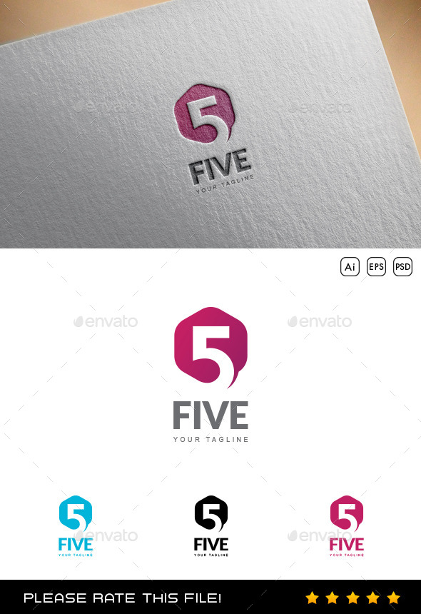 Five Logo - Numbers Logo Templates