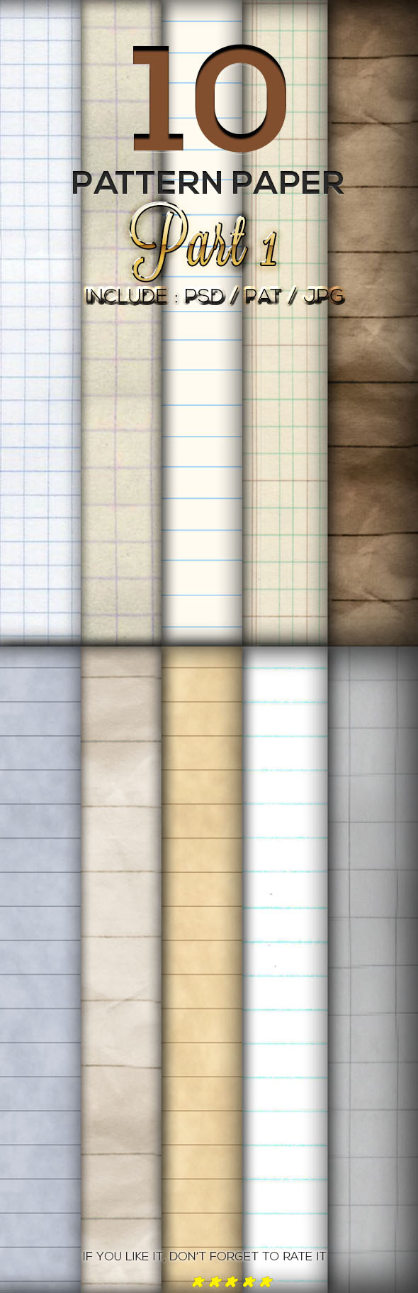 10 Lined Paper Pattern Part 1 - Textures / Fills / Patterns Photoshop