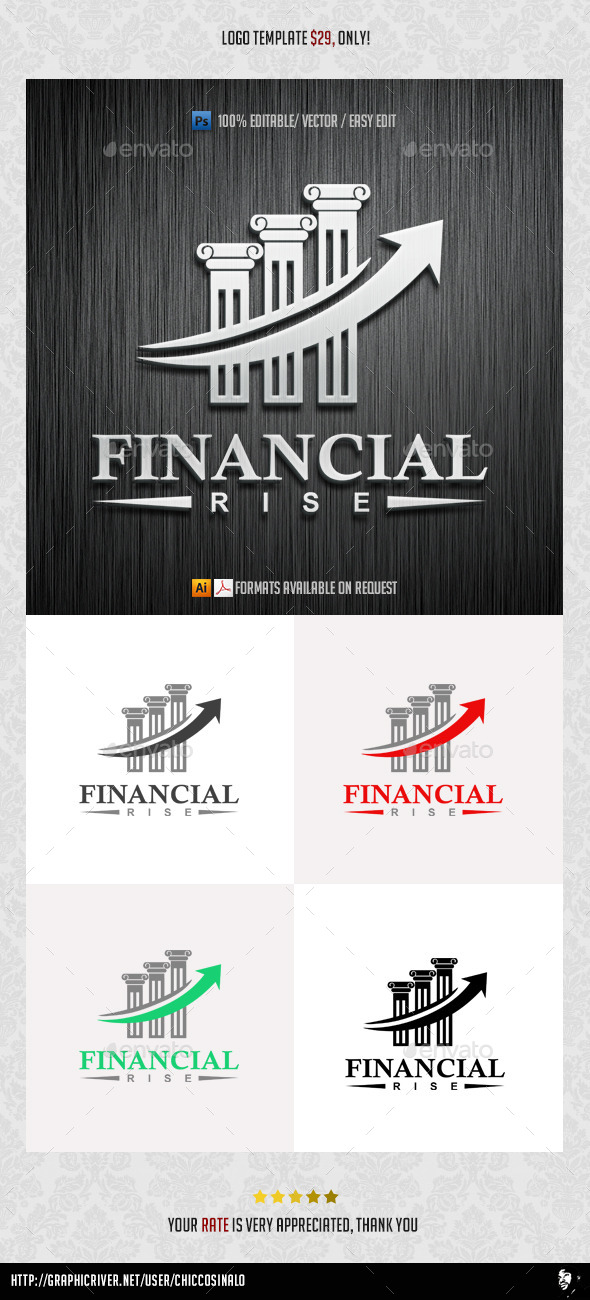 Financial Rise Logo Template - Abstract Logo Templates