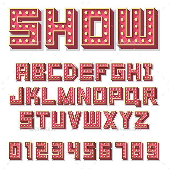 Alphabet with Show Lamps - Decorative Vectors