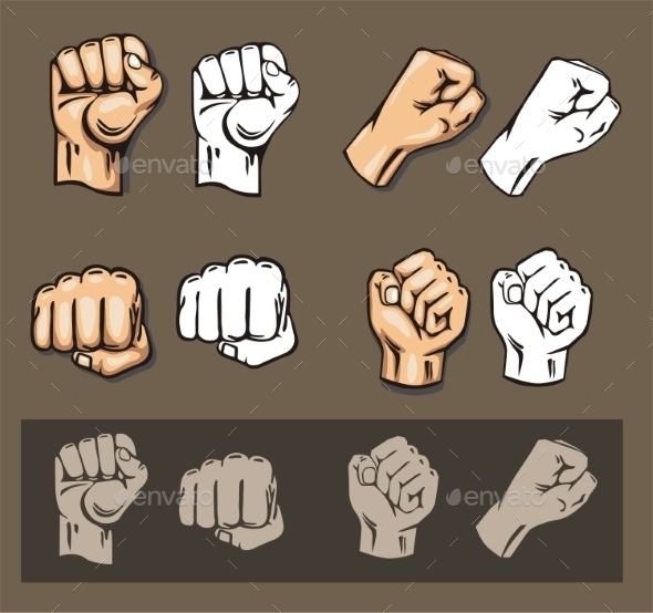 Fists Vector Set - Objects Vectors