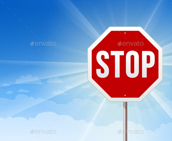 Stop Roadsign on Blue Sky Background - Travel Conceptual