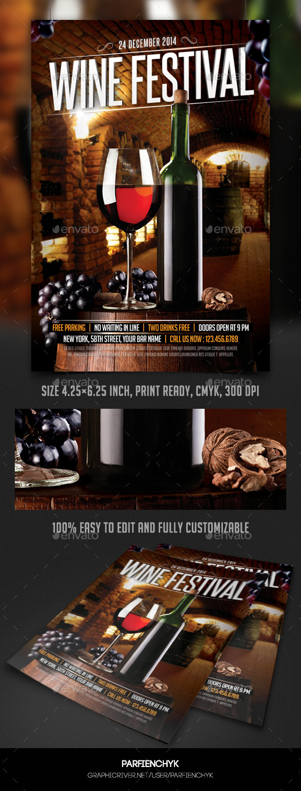 wine festival flyer template by parfienchyk graphicriver. Black Bedroom Furniture Sets. Home Design Ideas