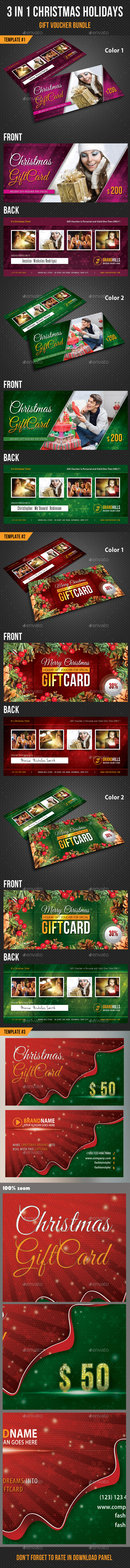 3 in 1 Christmas Holidays Gift Voucher Bundle - Cards & Invites Print Templates