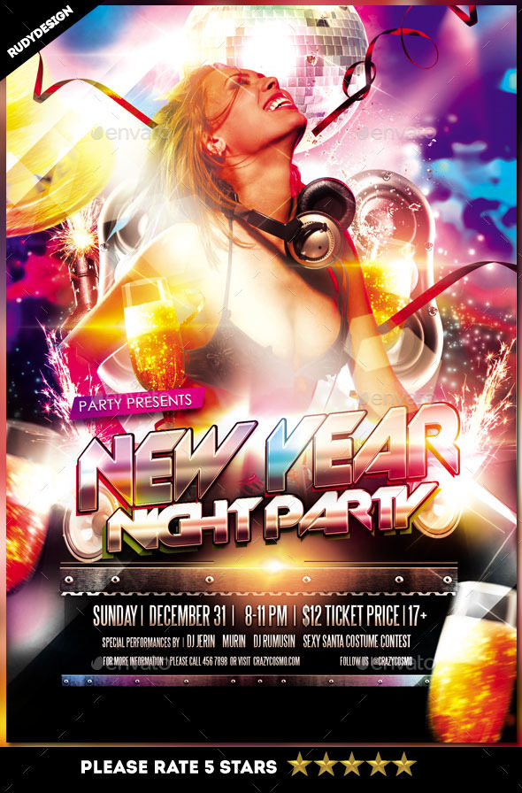New Year Night Party Flyer Template - Clubs & Parties Events