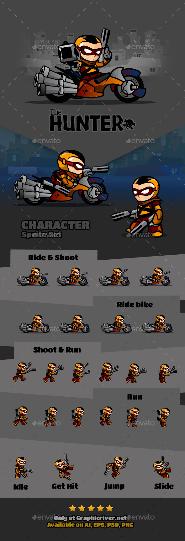 The Hunter Character - Sprites Game Assets