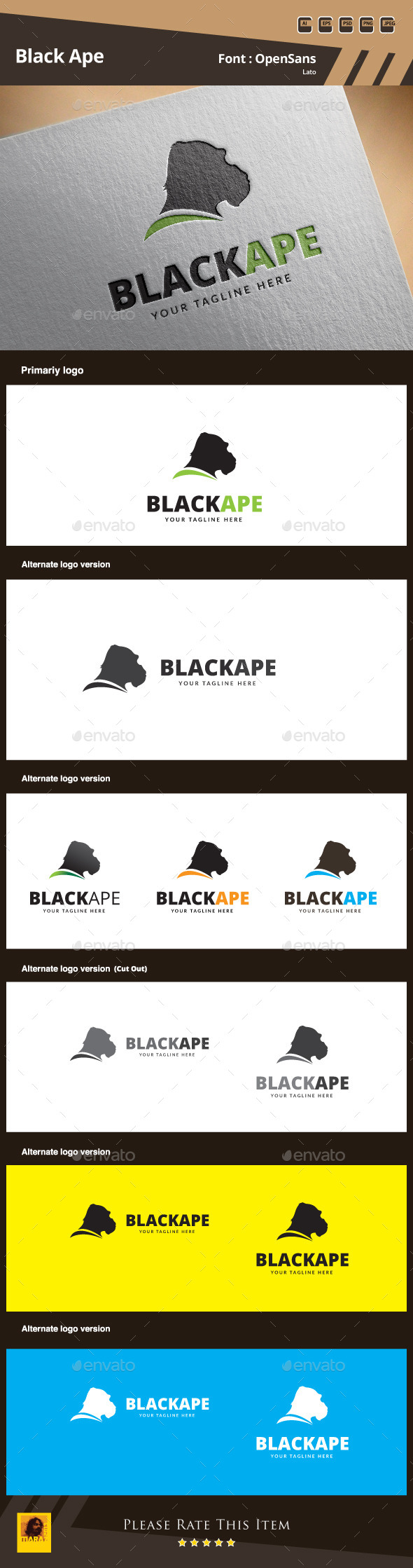Black Ape Logo Template - Animals Logo Templates