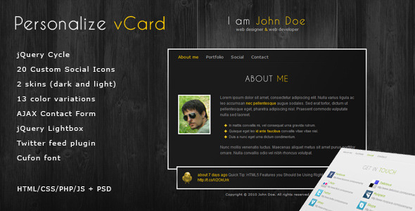 Personalize – Elegant and Professional vCard theme