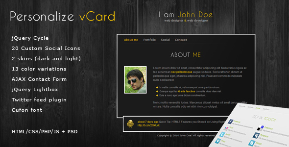 Free Download Personalize - Elegant and Professional vCard theme Nulled Latest Version