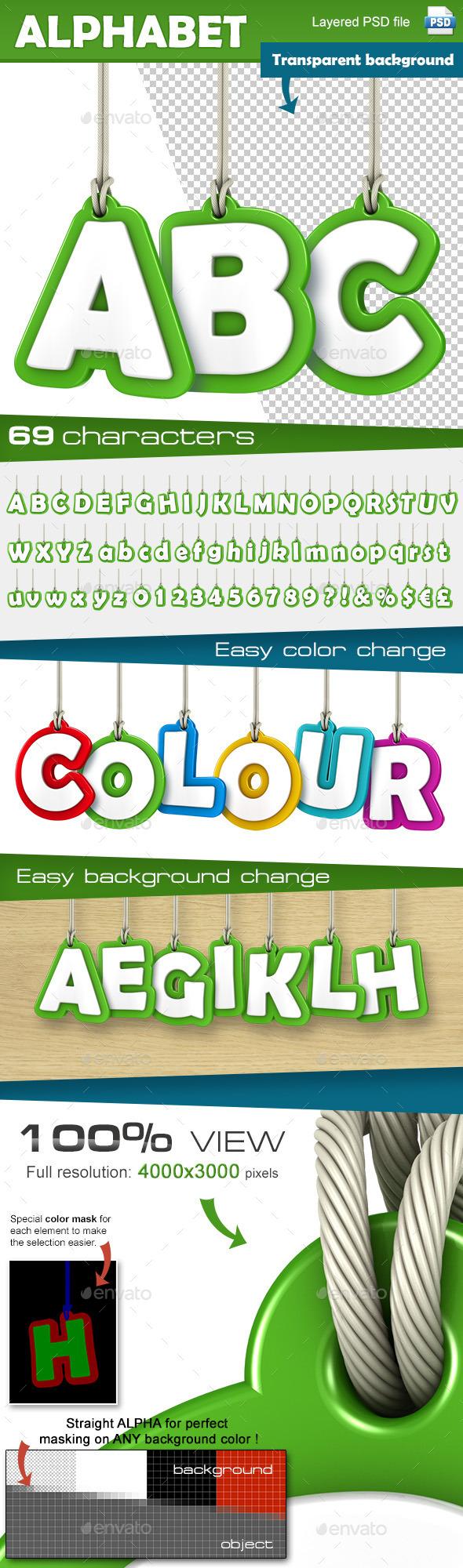 Alphabet Set - Text 3D Renders