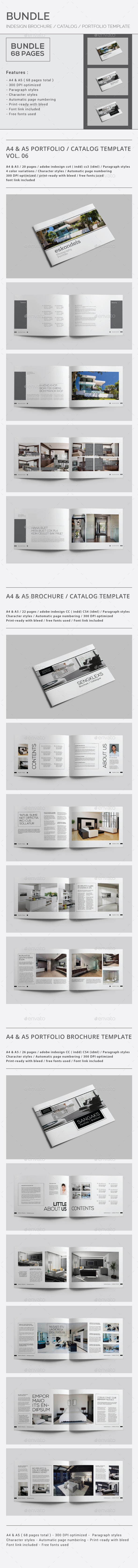 Indesign Brochure Catalog / Portfolio Bundle - Brochures Print Templates