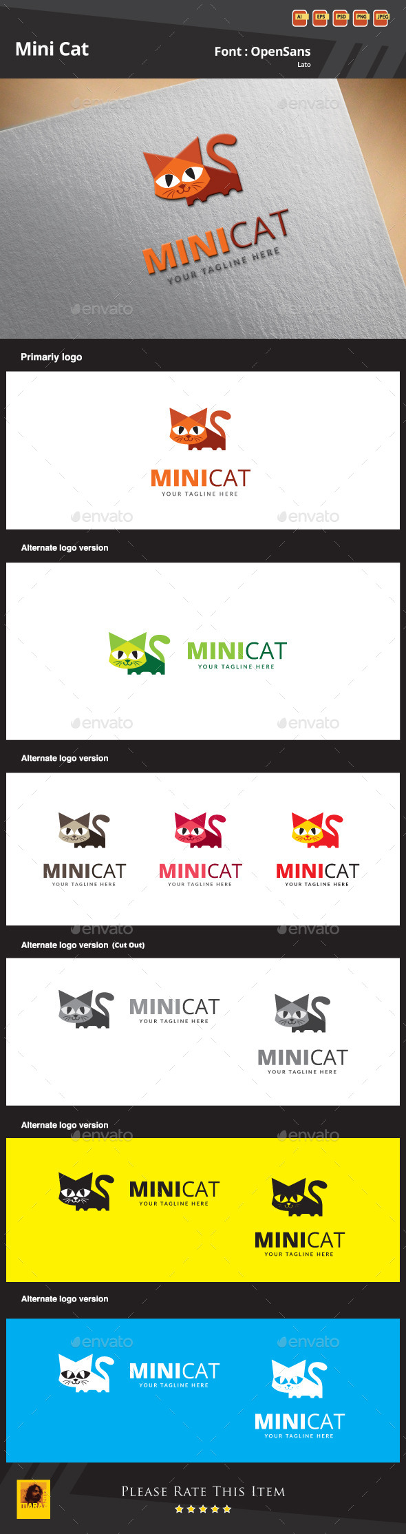 Mini Cat Logo Template - Animals Logo Templates