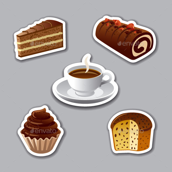 Cakes Stickers - Food Objects