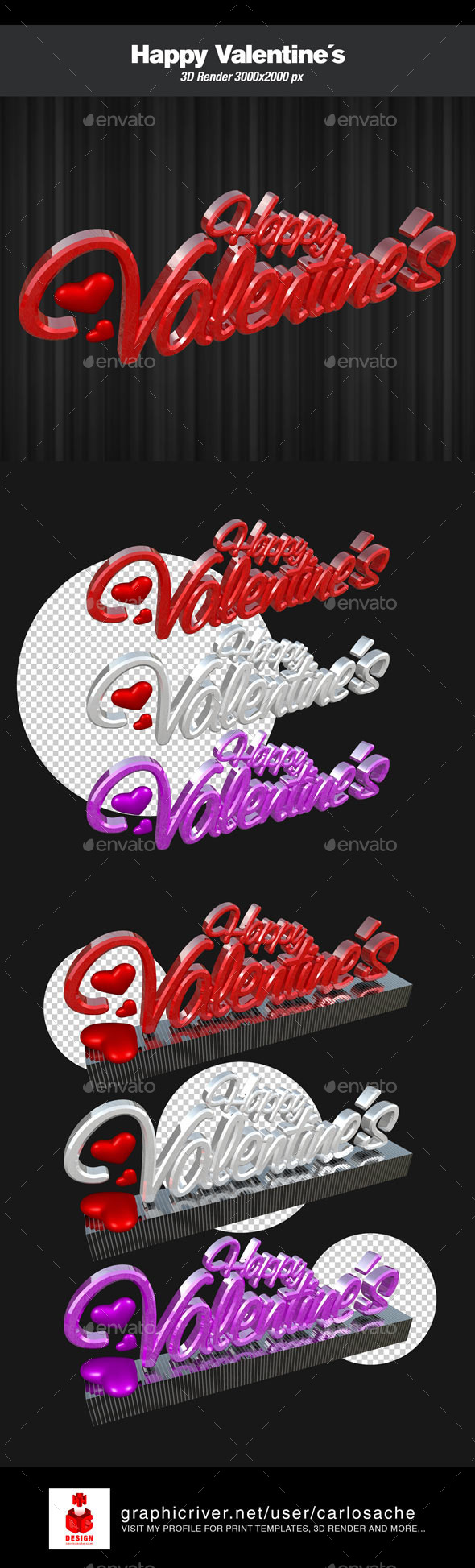 Happy Valentine´s - 3D Render Text - Text 3D Renders