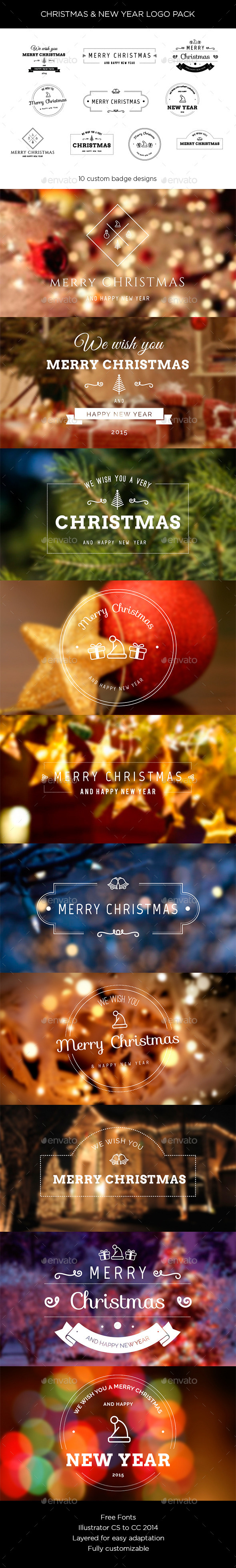 Christmas and New Year Logo Pack - New Year Seasons/Holidays