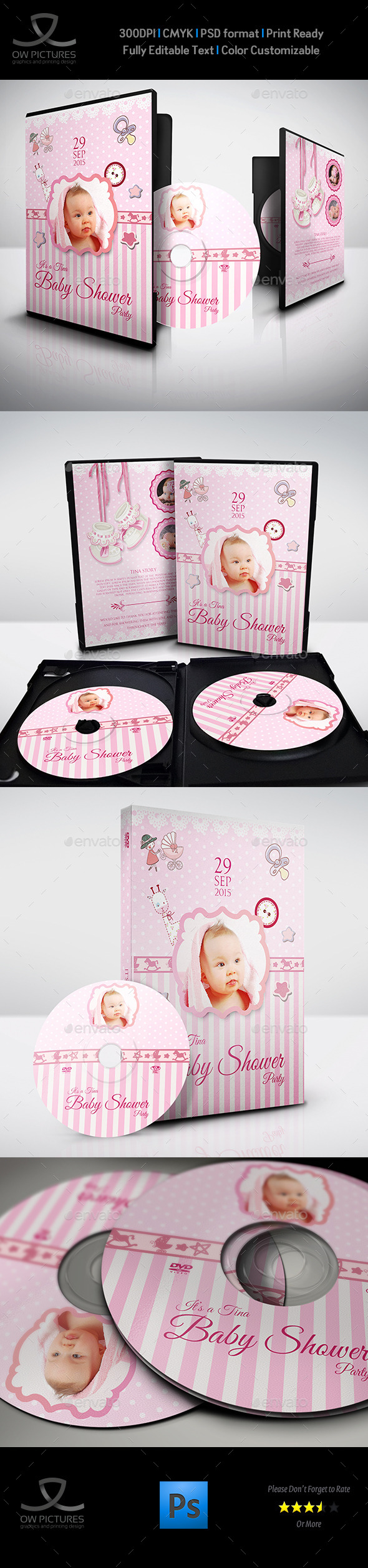 Baby Shower Party DVD Template Vol.2 - CD & DVD Artwork Print Templates