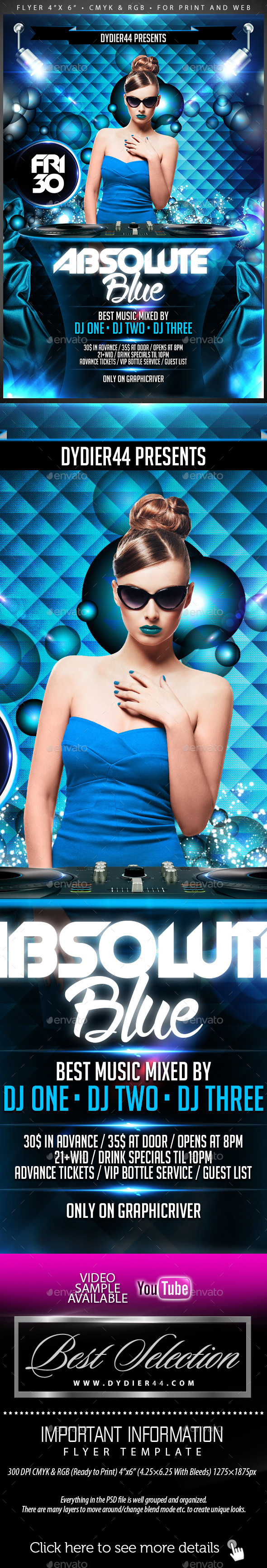 Absolute Blue (Flyer Template 4x6) - Clubs & Parties Events