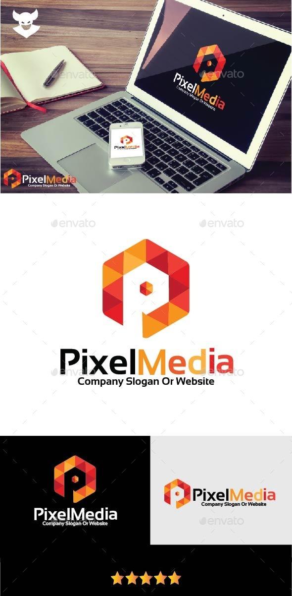 Pixel P letter Logo - Letters Logo Templates