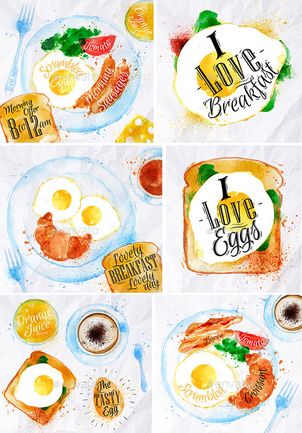 Breakfast Watercolor - Food Objects