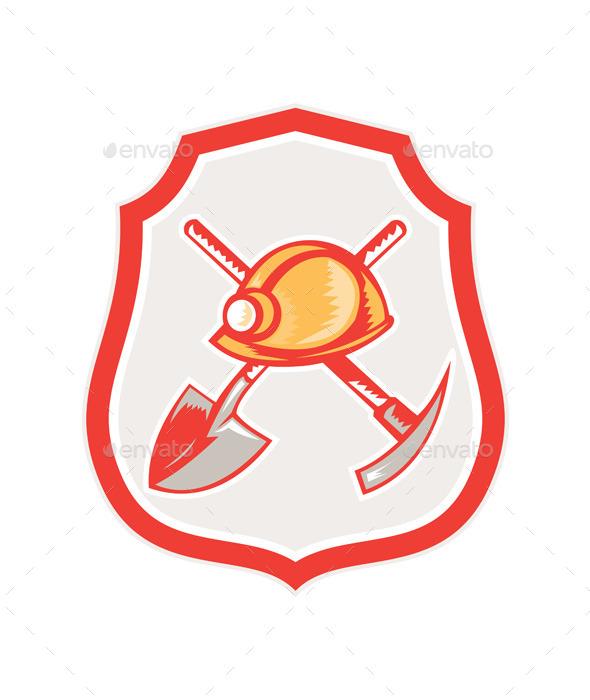 Miner Hardhat Spade Pick Axe Shield - Man-made Objects Objects