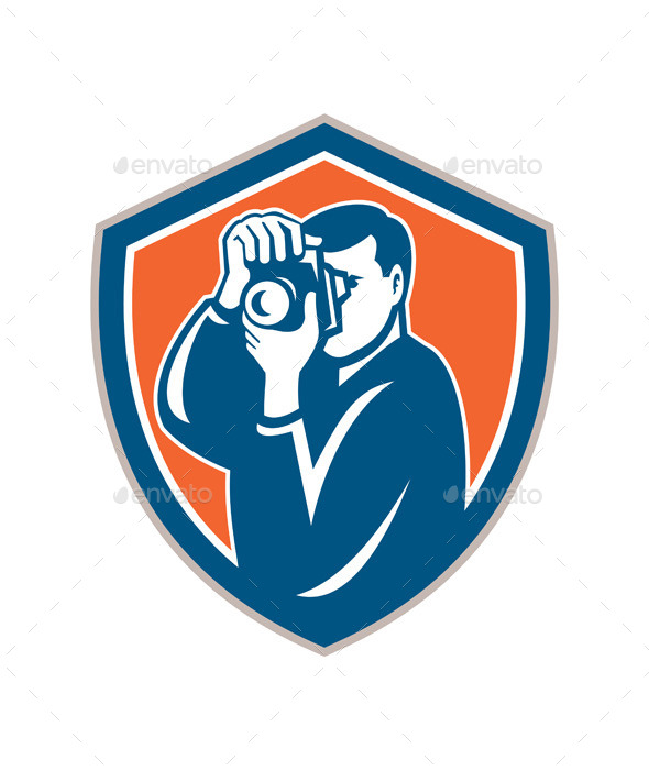 Photographer Aiming Camera Retro Shield  - People Characters