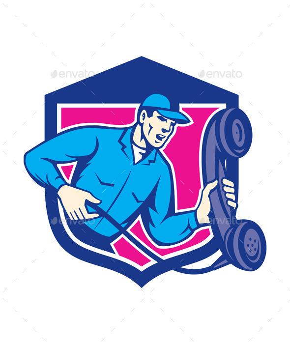 Telephone Repairman Holding Phone Shield Retro - People Characters