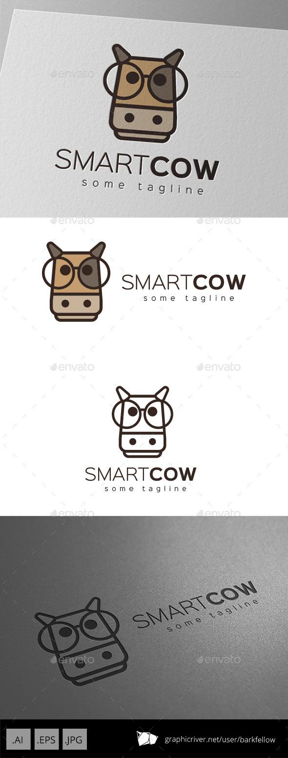 Smart Cow Logo Design - Animals Logo Templates