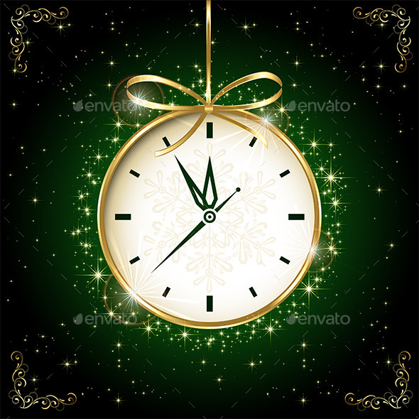 Clock on Green Background - New Year Seasons/Holidays