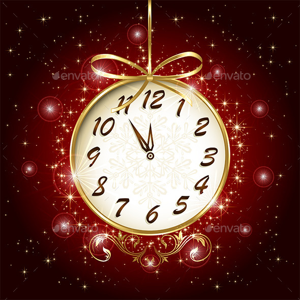 Clock on Red Background - New Year Seasons/Holidays