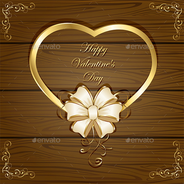 Heart and Bow on Wooden Background - Valentines Seasons/Holidays