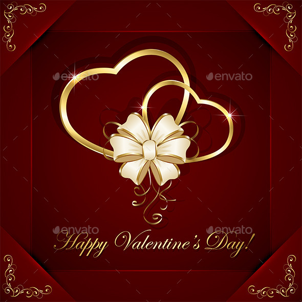 Hearts with Bow - Valentines Seasons/Holidays