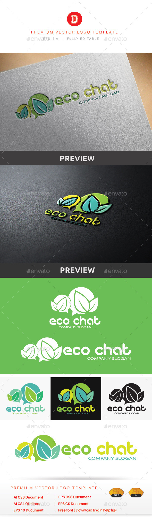 Eco Chat - Nature Logo Templates