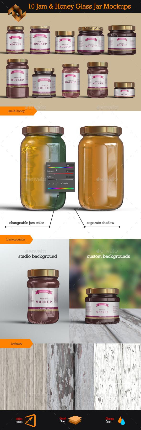 10 Jelly / Jam / Honey Jars Mockup - Food and Drink Packaging