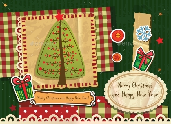 Scrapbook Christmas Greeting Card - Christmas Seasons/Holidays