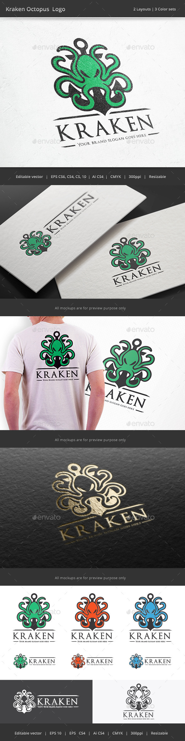 Kraken Octopus - Animals Logo Templates