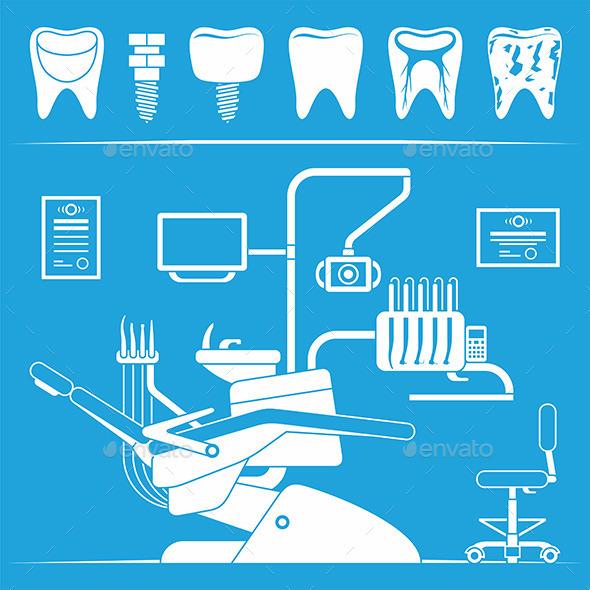Vector Set of Dentist Icons - Health/Medicine Conceptual