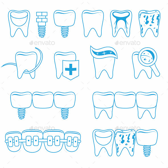 Vector Set of Dentist Icons - Health/Medicine Conceptual