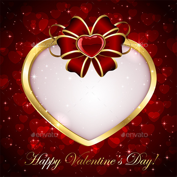 Golden Heart with Red Bow - Valentines Seasons/Holidays