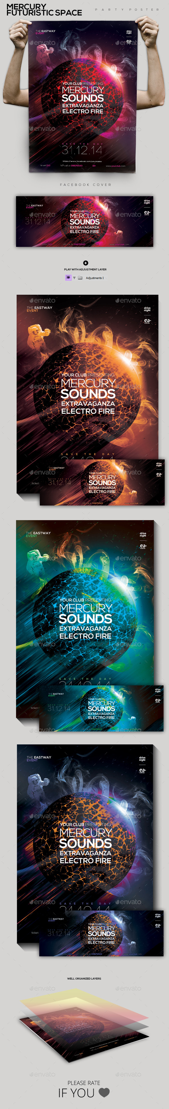 Mercury Futuristic Space Party Flyer/Poster - Clubs & Parties Events