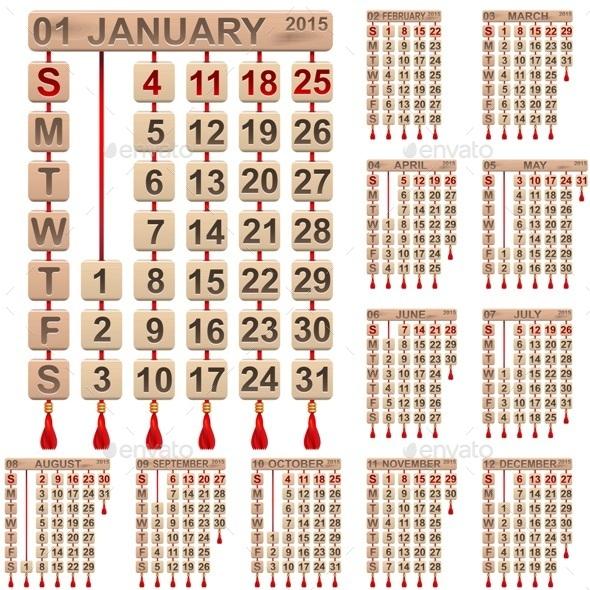 Calendar 2015 - Seasons/Holidays Conceptual
