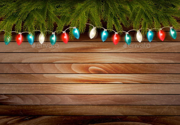 Christmas Wooden Background with Branches - Seasons/Holidays Conceptual