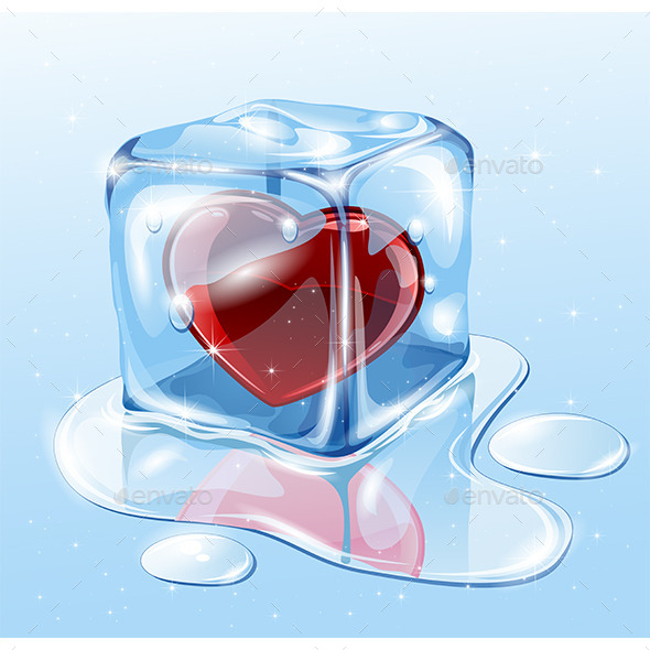 Ice Cube with Heart - Valentines Seasons/Holidays