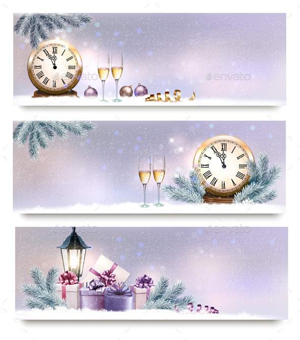 Three Christmas and New Year Banners - New Year Seasons/Holidays