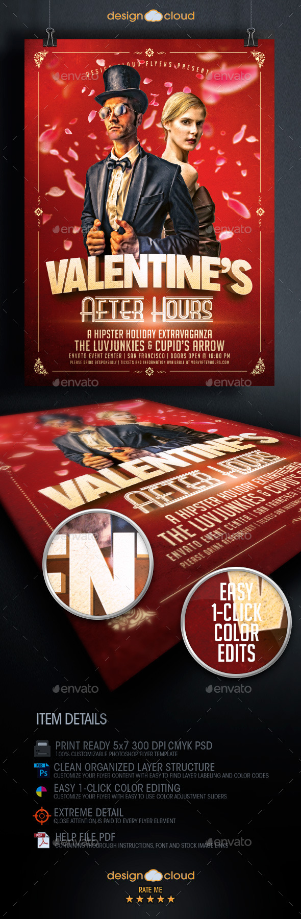 Valentine's After Hours Hipster Flyer Template - Holidays Events