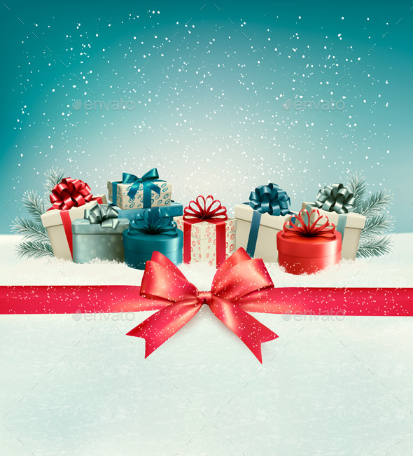 Christmas Background with a Bow and Presents - Christmas Seasons/Holidays