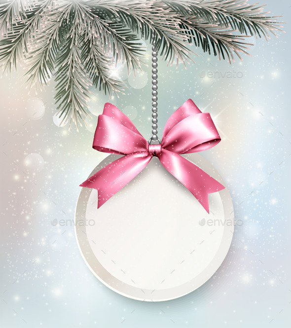 Holiday Background with a Label and a Bow - New Year Seasons/Holidays
